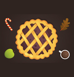 berry pie icon isolated thanksgiving day vector image