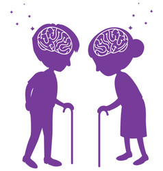 brain sign in heads older in world alzheimers day vector image