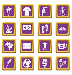 brazil travel symbols icons set purple vector image