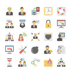 business office and internet related flat vector image