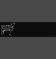 Butcher shop blackboard cut sheep meat vector
