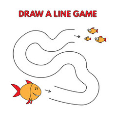 cartoon fish draw a line game for kids vector image