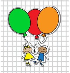 Cartoon kids with balloons vector