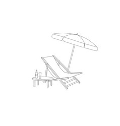 chaise longue table parasol on beach deck chair vector image