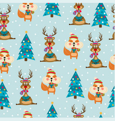 christmas seamless pattern with reindeers and vector image