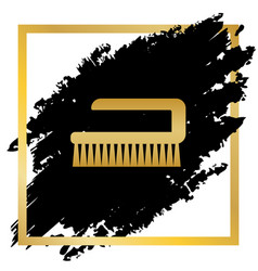 cleaning brush hygiene tool sign golden vector image