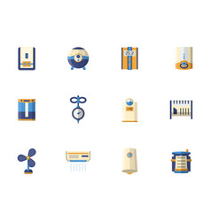 climatic equipment flat color icons set vector image