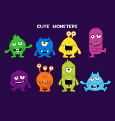 collection of cute cartoon monsters vector image