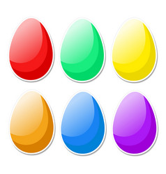 colorful bright easter eggs in cartoon style on vector image