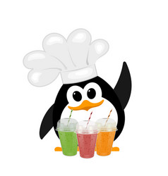 Colorful image of a small cute penguin in a bell vector
