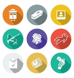 Contract killing profession Icons Set vector