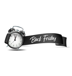 curved paper banner ribbon with black friday vector image