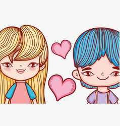 cute girl and boy couple with hearts vector image
