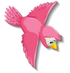 Cute pink bird cartoon character vector