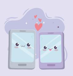 cute smartphone devices love kawaii cartoon vector image