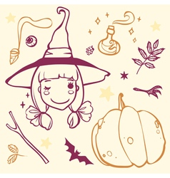 Cute witch with Halloween stuff pumpkin bat potion vector