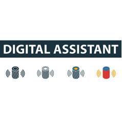 Digital assistant icon set premium symbol vector