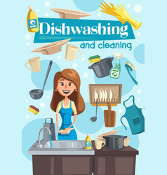 Dish washing and cleaning at home vector