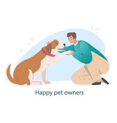 Dog friends with owner concept vector