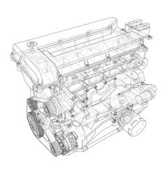 engine sketch rendering of 3d vector image