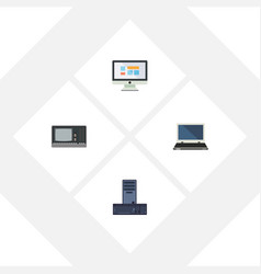 flat icon computer set of display notebook vector image