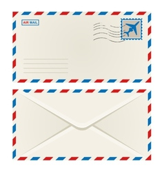 Front and back an airmail envelope vector