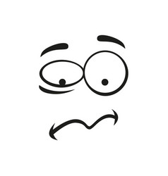 Frustrated emoji isolated cartoon troubled face vector