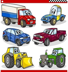 Funny cartoon vehicles and cars set vector