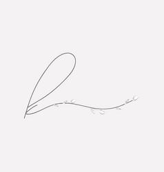Hand lettering floral k lowercase monogram vector