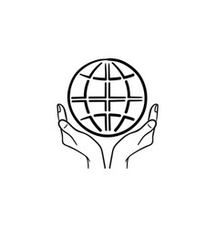 hands support earth globe hand drawn sketch icon vector image
