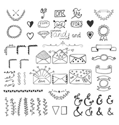 Handsketched design elements Hand drawn ampersands vector image