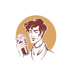 handsome barman holding a craft beer cup vector image