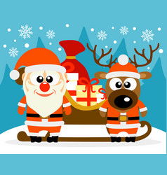 Happy new year card with funny santa claus and vector