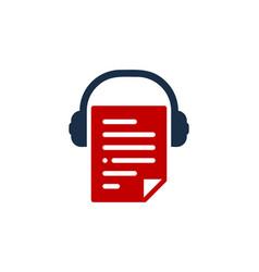 headphone document logo icon design vector image