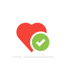 heart tick icon healthy heart with checkmark vector image