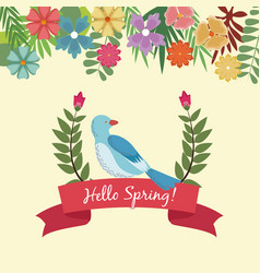 hello spring lettering hand text with a bird on a vector image