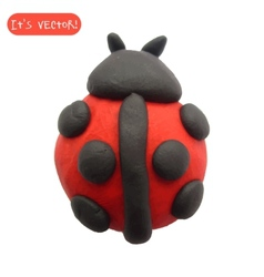 Icon of plasticine ladybug vector