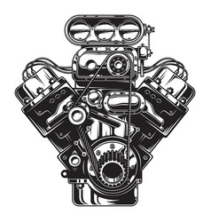 Isolated monochrome car engine vector