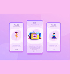 kids digital content app interface template vector image