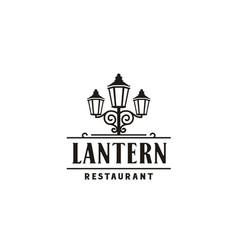lantern post classic city street lamp vintage logo vector image