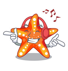 Listening music starfish isolated with in the vector
