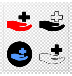 medical donation hand eps icon with contour vector image