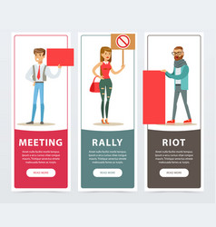 Meeting rally riot banners set people with vector