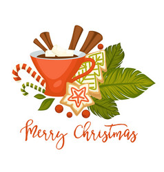Merry christmas hot drink with cinnamon in mug vector