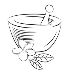 Mortar and pestle with frangipani flower vector