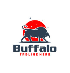 Mountain bull animal logo vector