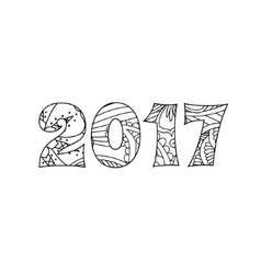Numbers 2017 in zentangle inspired style isolated vector image
