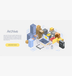 Office archive concept banner isometric style vector