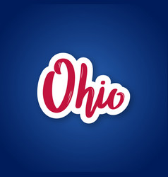 ohio - hand drawn lettering name of us state vector image