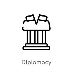 Outline diplomacy icon isolated black simple line vector